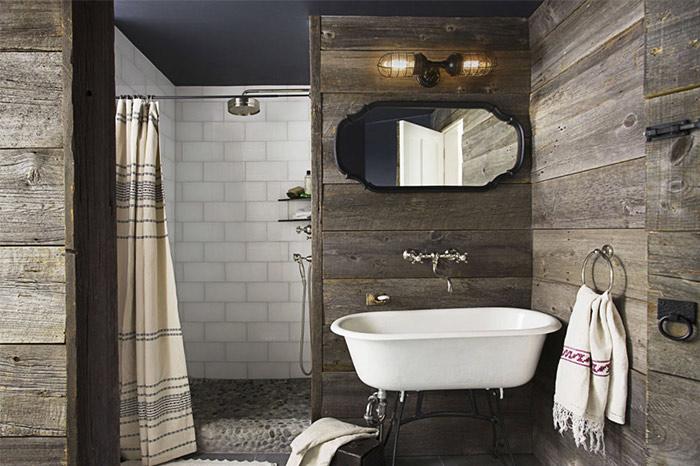 chambre de bain bois de grange